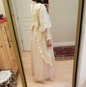 Vintage Dresses - 🎉HP🎉 Vintage 1970s Prairie Lace Wedding Dress